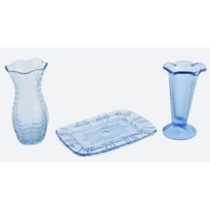 Zestaw naczyń z błękitnego szkła - dobierany