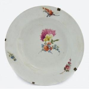 Porcelana MIŚNIA, Talerz dekoracyjny z malowanymi kwiatami