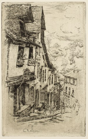 Józef Pankiewicz (1866 Lublin - 1940 Marsylia), Uliczka w Dijon z psem
