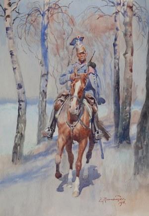 Zygmunt Rozwadowski (1870 Lwów - 1950 Zakopane), Ułan na koniu, 1918 r.