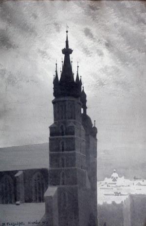 Stanisław Fabijański (1865 Paryż - 1947 Kraków), Wieże kościoła Mariackiego w Krakowie, 1921 r.