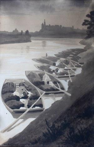 Stanisław Fabijański (1865 Paryż - 1947 Kraków), Galary na Wiśle pod Krakowem, 1921 r.