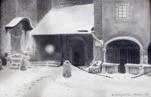 Stanisław Fabijański (1865 Paryż - 1947 Kraków), Zaułek przy kościele św. Barbary, 1921 r.