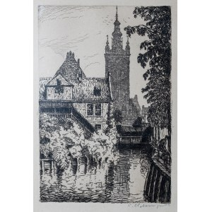 Berthold Hellingrath (1877 Elbląg - 1954 Hannover), Widok z mostu przy ul. Korzennej na kościół św. Katarzyny, przed 1925 r.