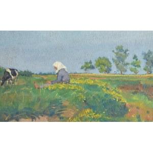 Stanisław DYBOWSKI (1895-1956), Na pastwisku - Pejzaż z kobietą pasącą krowy