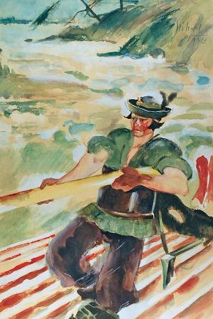 Kazimierz SICHULSKI (1879 - 1942), Flisak na Prucie