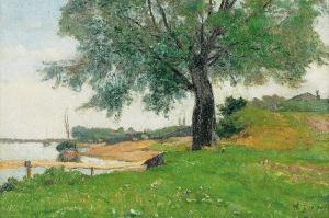 Walery BROCHOCKI (1847-1923), Pejzaż z kościołem w tle