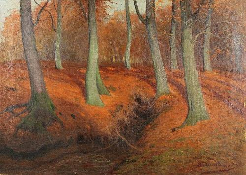 Roman BRATKOWSKI (1869-1954), Wnętrze lasu jesienią, 1922
