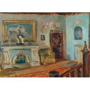 Wojciech Otton FLECK (1903-1972), Wnętrze z kominkiem