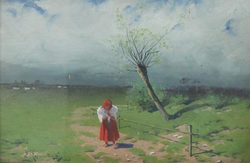 Zygmunt ROZWADOWSKI (1870-1950), Staruszka przy płocie