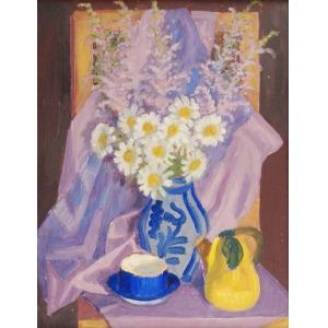 Zofia LEŚNIAK (1903-?), Martwa natura z kwiatami i dzbankiem