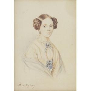 August von MEDVEY (XIX/XX w.), Portret kobiety z niebieską kokardą