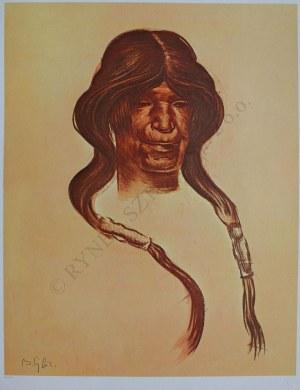 """Bolesław Cybis wg (1895-1957), Old Woman. Hopi Tribe(z teki """"Folio One of American Indian"""" pl.8, 1970, no 258/1000)"""