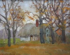 Jerzy Gnatowski (1929-2012), Pejzaż jesienny z chatą(1997)