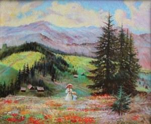Jerzy Pogorzelski (1926-2003), Pejzaż górski z kwitnącą łąką