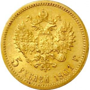 Rosja, Mikołaj II, 5 rubli 1901 FZ, Petersburg, menniczy egzemplarz