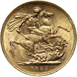Wielka Brytania, Wiktoria, suweren 1884, UNC