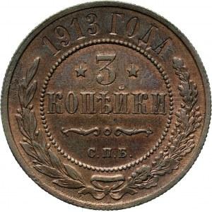 Rosja, Mikołaj II, 3 kopiejki 1913 S.P.B., Petersburg, piękne