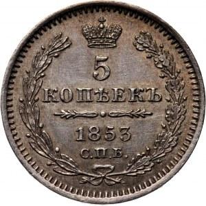 Rosja, Mikołaj I, 5 kopiejek 1853 HI, Petersburg, piękne!