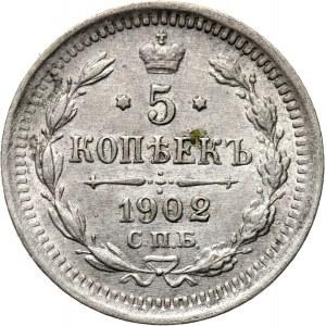 Rosja, Mikołaj II, 5 kopiejek 1902 AP, Petersburg, UNC