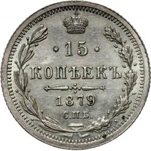 Rosja, Aleksander II, 15 kopiejek 1879 HF, Petersburg, piękne