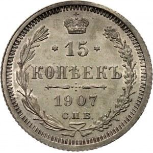 Rosja, Mikołaj II, 15 kopiejek 1907 EB!!, Petersburg, UNC