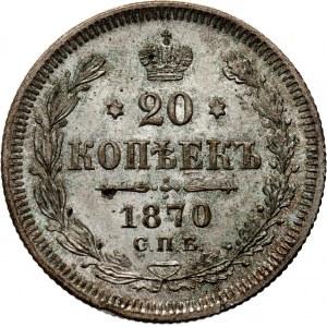 Rosja, Aleksander II, 20 kopiejek 1870 HI, Petersburg, UNC-