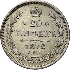 Rosja, Aleksander II, 20 kopiejek 1872 HI, Petersburg