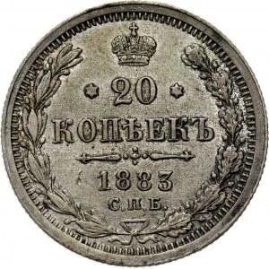 Rosja, Aleksander III, 20 kopiejek 1883 DC, Petersburg, rzadszy rocznik