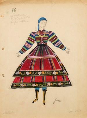Jan Marcin Szancer (1902 Kraków-1973 Warszawa), Dziewczyna w niebieskiej chuście, w stroju lubelskim