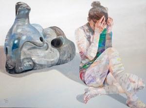Adam Wątor (ur. 1970), Z rzeźbą Moora, 2019