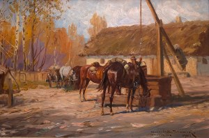 Leonard Winterowski (1868 Kraków - 1927), Ułani przy studni, 1925 r.