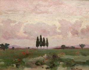 Iwan Trusz (1869 Wysocko - 1940 Lwów), Pejzaż z cyprysami