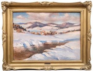 Stefan Filipkiewicz (1879 Tarnów - 1944 Mauthausen), Zimowy pejzaż z rzeką