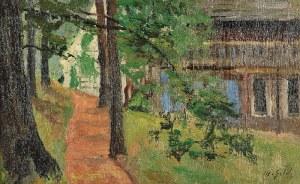 Michał GORSTKIN WYWIÓRSKI (1861-1926), Pomarańczowa droga [Droga w wieczornym świetle]