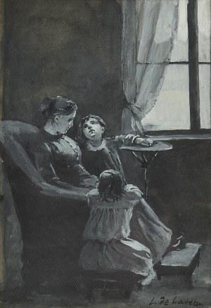 Ludwik De LAVEAUX (1869-1894), W domowym zaciszu - Matka z dziećmi