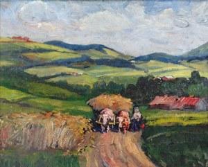 Jerzy POTRZEBOWSKI (1921-1974), Pejzaż z Ptaszkowej koło Nowego Sącza