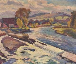 Mieczysław BIESZCZANIN (1910-1968), Szaflary - widok z mostu, 1945