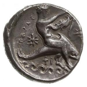 stater 344-334 pne, Aw: Jeździec z tarczą i włócznią w ...