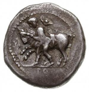 drachma 450-400, Aw: Młodzieniec ujarzmiający byka kroc...