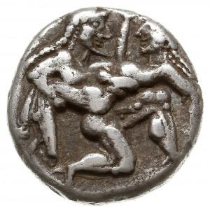 stater 500-480 pne, Aw: Satyr kroczący w prawo, uprowad...