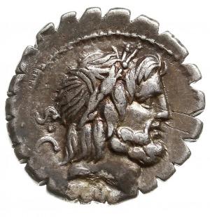 denar serratus 83-82 pne, Rzym, Aw: Głowa Jowisza w pra...
