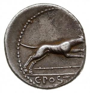 denar 74 pne, Rzym, Aw: Popiersie Diany z łukiem i kołc...