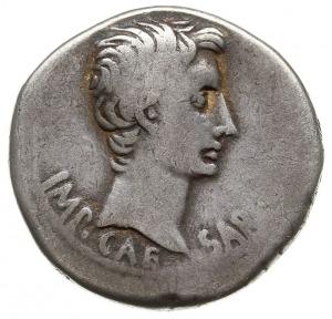 cystofor 25-20 pne, Aw: Głowa cesarza w prawo, u dołu I...