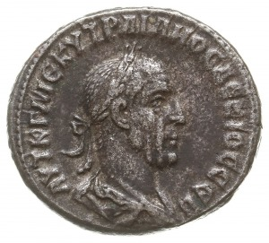 tetradrachma bilonowa 249-251, Antiochia, Aw: Popiersie...