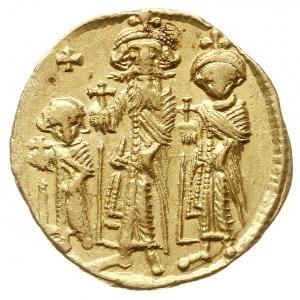 solidus, 632-635, Konstantynopol, Aw: Trzej cesarze sto...