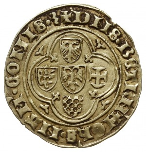 floren z lat 1418-1429, Aw: W czwórlistnej rozecie pięć...
