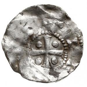 denar, Aw: Głowa króla w koronie na wprost, Rw: Krzyż z...