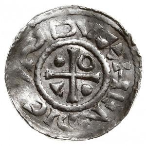 denar 995-1002, Aw: Dach kościoła, Rw: Krzyż z kulkami,...