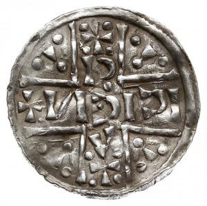 denar 1018-1026, Aw: Dach kościoła, Rw: Napis HEINRICVS...